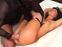 Horny blonde slut getting fucked with a vibrator on the sofa